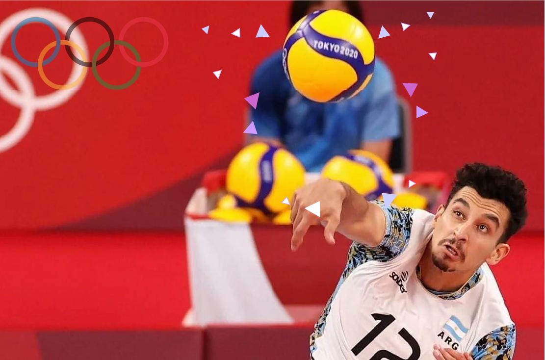 Persona jugando al voley con pelota en los Juegos Olímpicos de Tokio