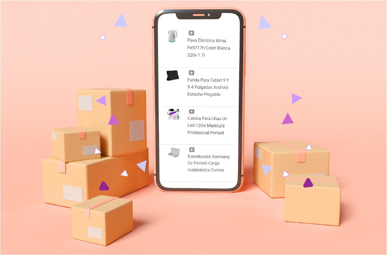 Celular con pantalla en Mercado Libre y entre cajas de cartón